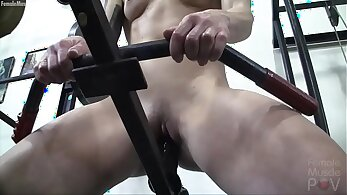 redhead in no shoes is creamed in the gym