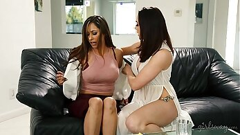Sexy lesbians Chanel Preston and Lola Kelly burst out of a railing from behind