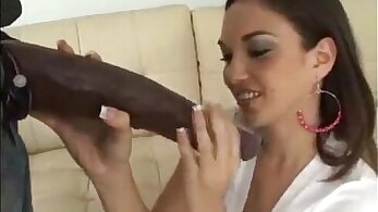 Casey takes on a beefy black cock