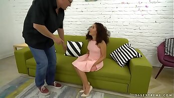 Appetizing and sexy redhead cougar Melody Petite takes dick in her tight pussy
