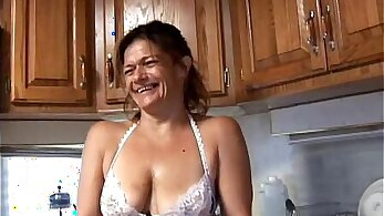 Lingerie babe takes birth control in her horny pussy
