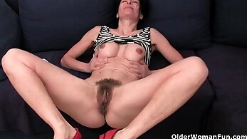 blonde takes off her panties to show her pussy