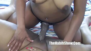 Big tits lesbian girl sucked off by a lucky guy