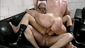 Busty blonde dirty talk and tease fucking on the floor