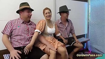 Crazy german gangbang party with lots of lucky guys