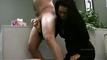 Boss handjob cum shots
