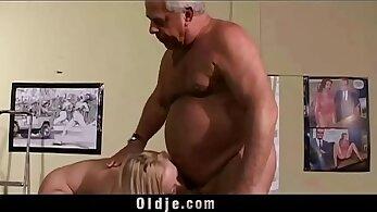 Teen step mom cheats with her boyfriends grandpa