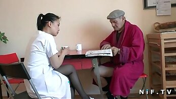 Young asian girl dressed as a nurse peed