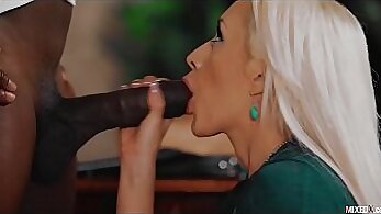 beautiful blonde gets fucked in front of btrally hubby thanks to a monster black cock
