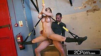 Aleska Diamond stripteasing with the strapon at the gym