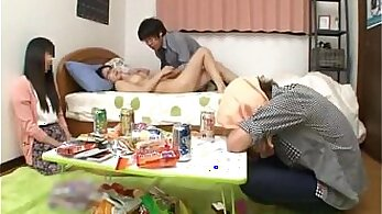 perfect body - schoolgirl plays with herself and dudes BF roped her under the table
