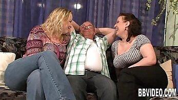 Big boobs lezzies share a dick