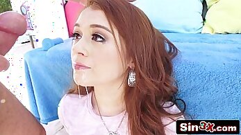 redhead that loves big white cock is getting fucked by a young dude