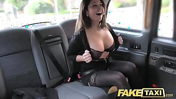 Cum thirsty brunette doggyfucked in taxi